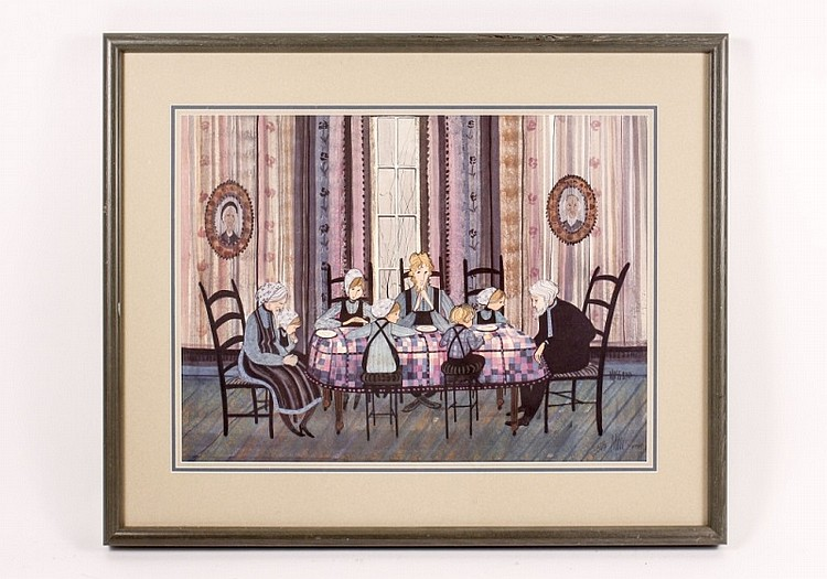 Patricia Buckley Moss Family Dinner Print, Signed