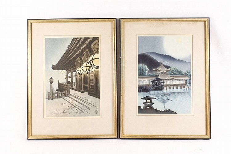 Pair of Japanese Woodblock Prints, Signed