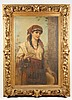 Hungarian Gypsy Girl, Signed 19th C. Oil, Brentano, Franz (1840) Brentano, Click for value