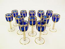Set of 12 Moser Cobalt Wine Goblets