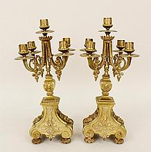 Pair of Brass Five-Light Candelabra