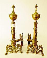 Pair of Brass Andirons w/Swag & Bird's Head Motif