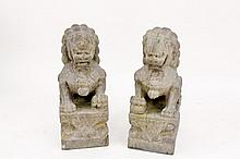 Pair of Large Carved Stone Foo Dogs or Shishi
