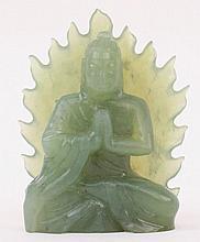 Green Carved Jadeite Buddha Figure