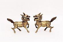 Pair of Bronze Kylin Figures