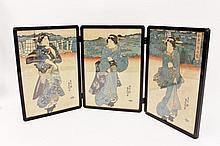 Japanese Ukiyo-e Figural Triptych