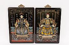 Pair of Chinese Reverse Painted Emperors