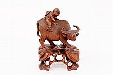Carved Oriental Wood Bull Figural Sculpture