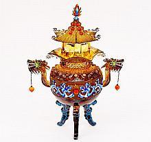 Ornate Pagoda Form Censor