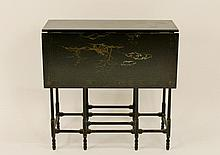 Black Lacquered Chinoiserie Drop Leaf Table