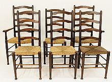 Set of Six English Ladder Back Chairs