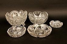 Four Circular Cut Glass Dishes