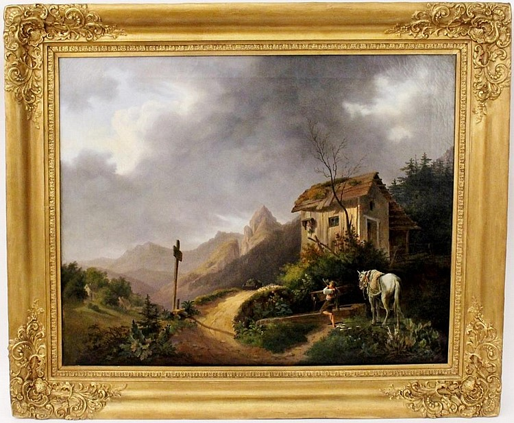 Anton Altman Tyrolean Figure in Landscape Oil