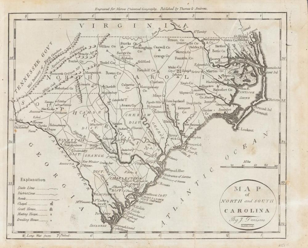 1796 MAP OF NORTH & SOUTH CAROLINA, DENISON, FRAME