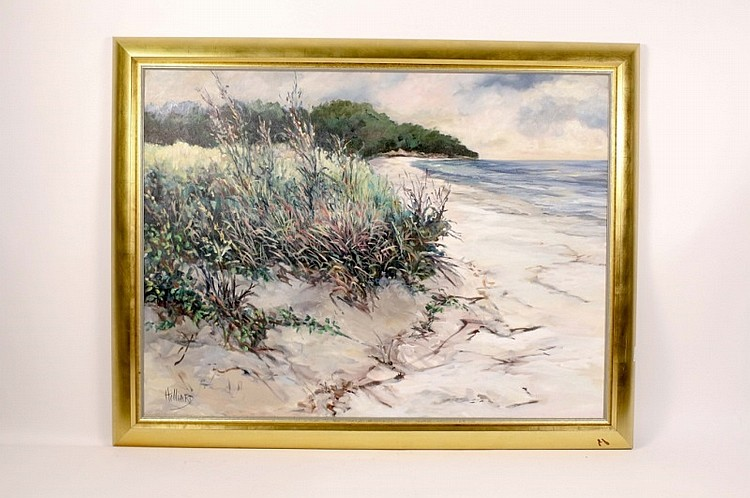 Joan Hilliard Coastal Oil Painting, Signed