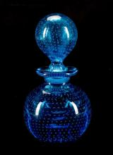 Czech Blue Bubble Glass Perfume Scent Bottle