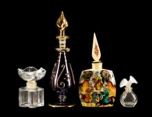 Group of Four Glass & Bone Perfume Bottles