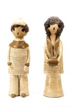 Pair Earthenware Ceramic Figurines, Boy and Girl