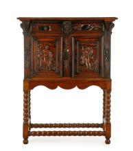 18th Century Carved Oak Cabinet on Stand