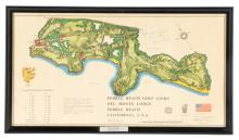 Pebble Beach Pro-Am Course Map, Signed Bing Crosby