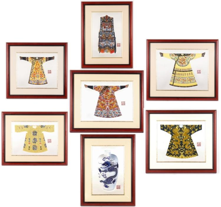 Group of modern chinese embroidered works