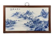 Large Chinese Porcelain Plaque, Landscape Scene