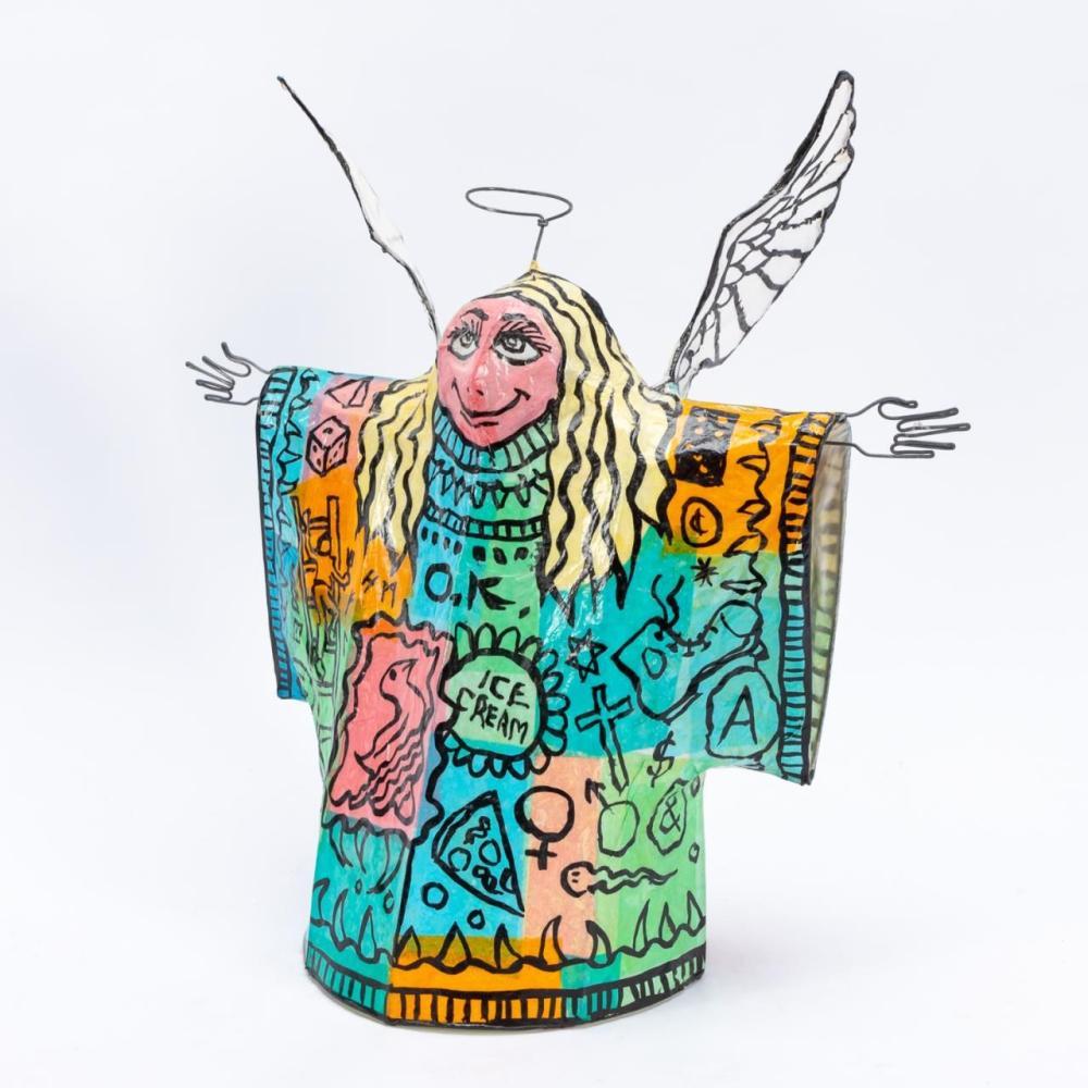 JOHN RICHARDS FOLK ARTPAINTED ANGEL LAMP, 1995