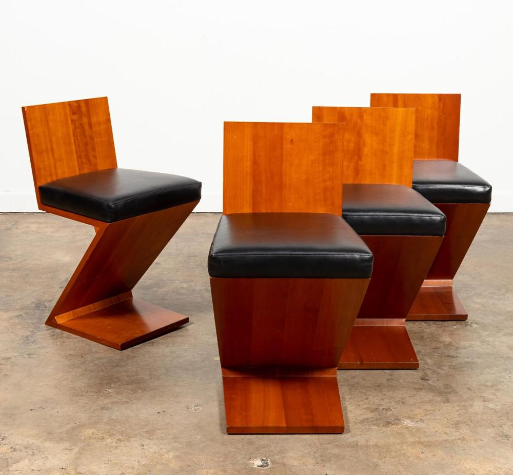 """FOUR RIETVELD FOR CASSINA """"ZIG ZAG"""" CHAIRS"""