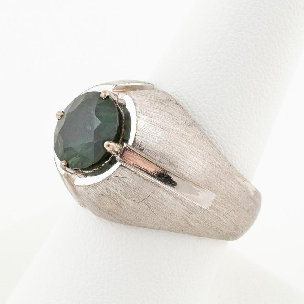 MEN'S SILVER & SYN 4.30 CTW GREEN SAPPHIRE RING