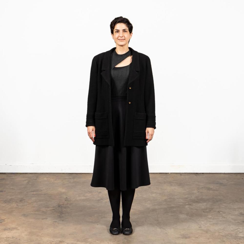 CHANEL LADIES' BLACK WOOL KNEE LENGTH COAT