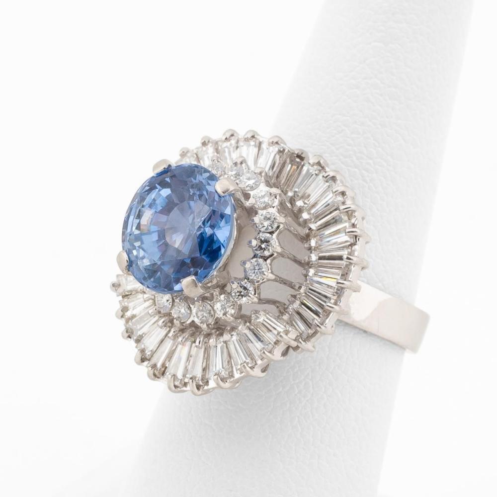 6.3 CTW BLUE SAPPHIRE & DIAMOND PLATINUM RING