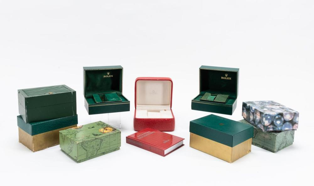 COLLECTION, MISC. WATCH BOXES, MOSTLY ROLEX, 10PCS