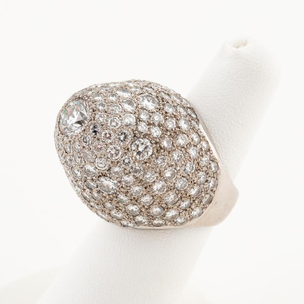 14K WHITE GOLD & PLATINUM DIAMOND HIGH DOME RING