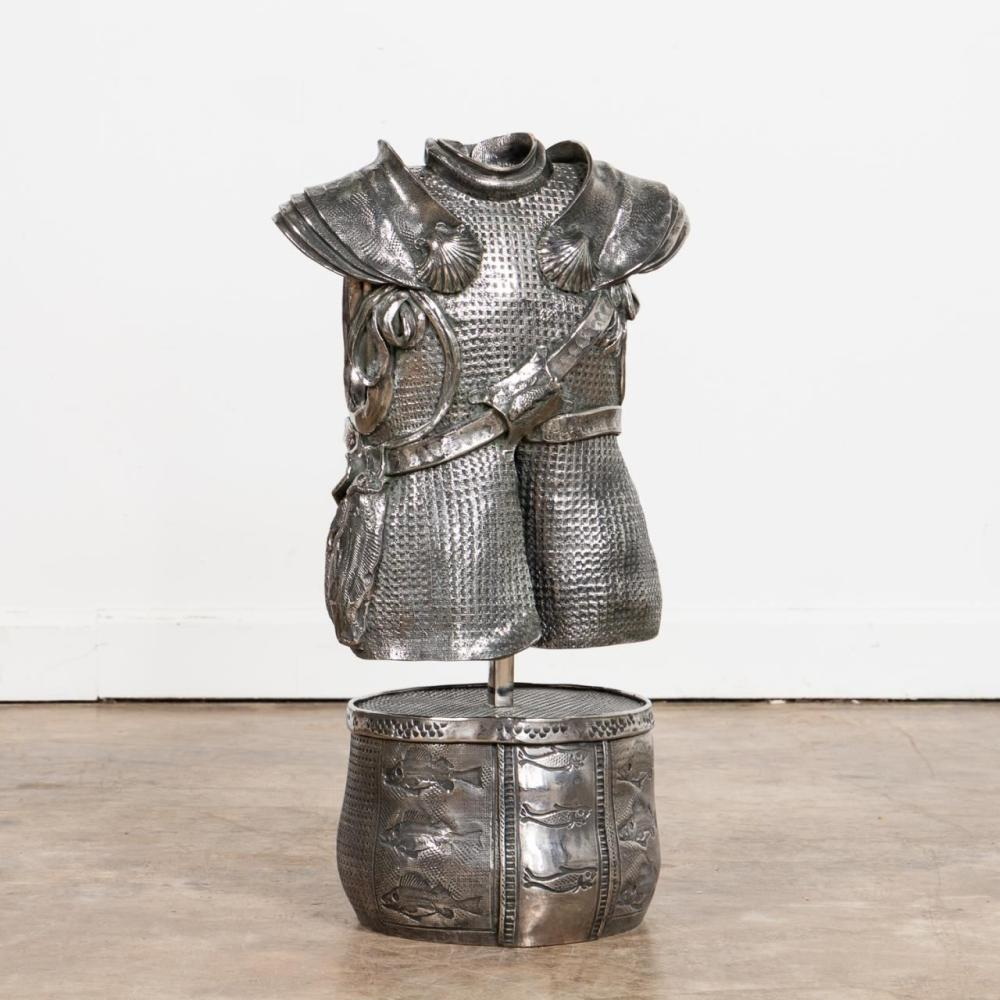 MARY ANNE TURLEY, STEEL SCULPTURE, VEST ON STAND