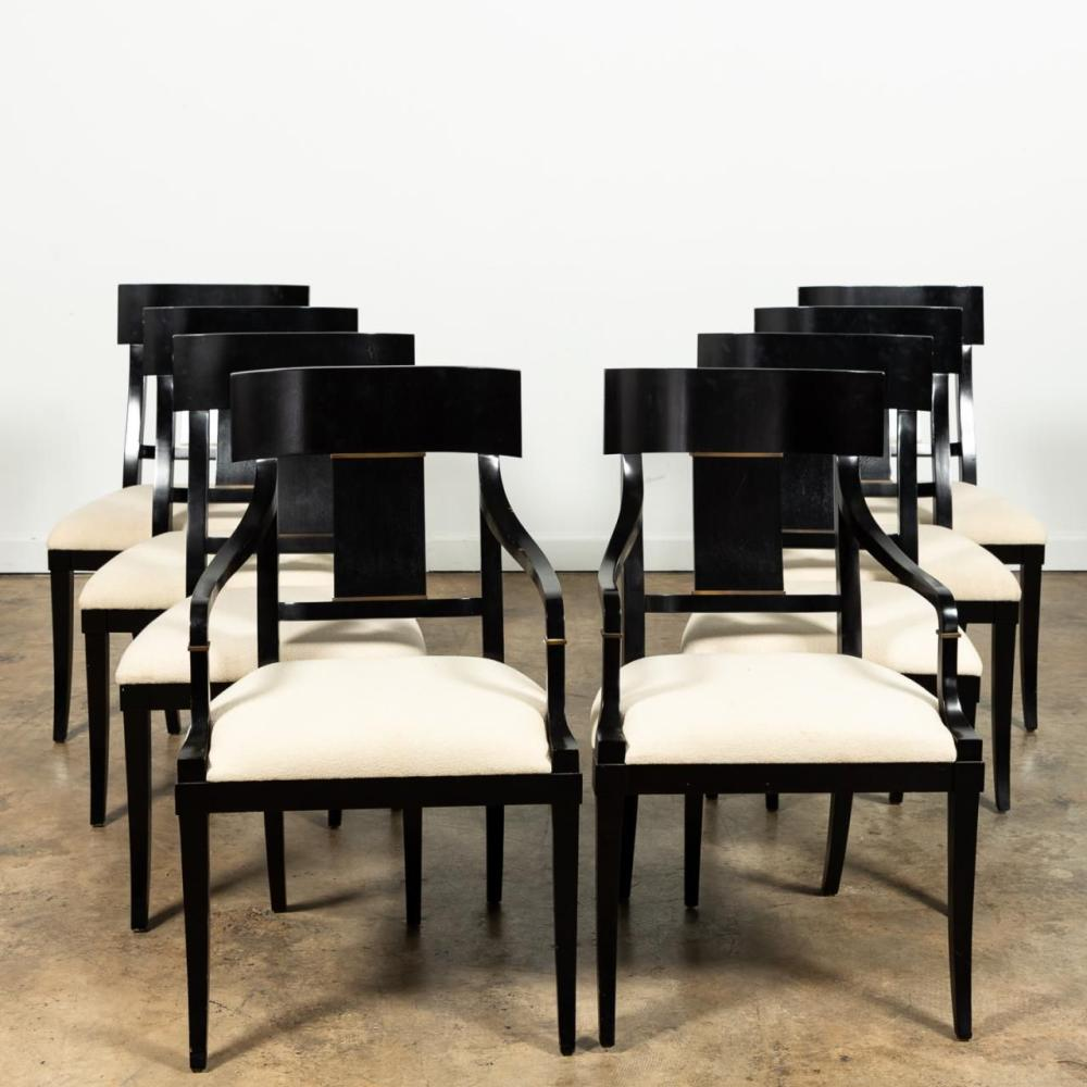 BOLIER BY DECCA BLACK LACQUER DINING CHAIRS