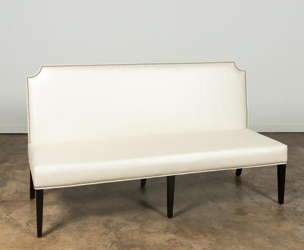 NATHAN ANTHONY WHITE MOCK OSTRICH LEATHER SETTEE