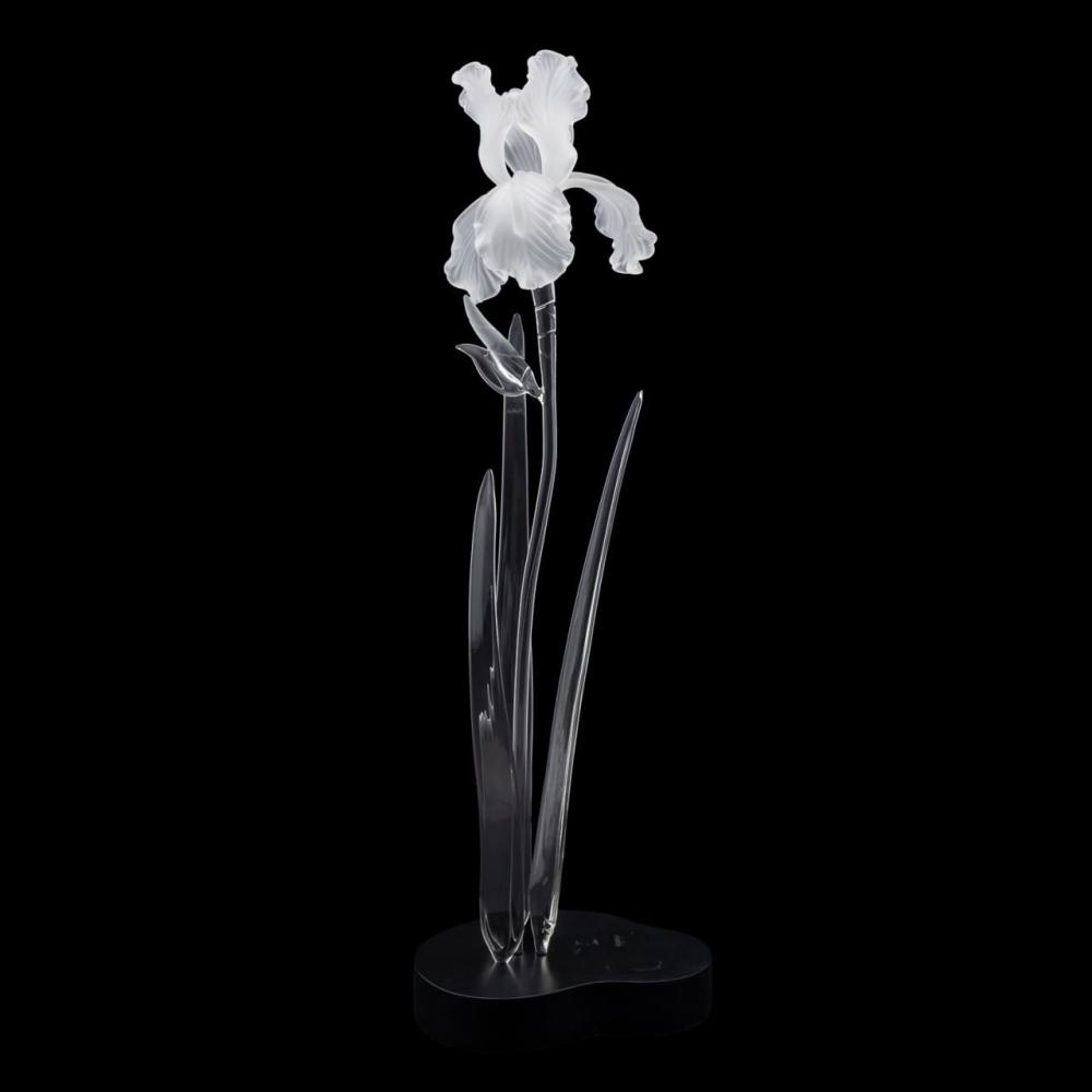 FRABEL IRIS FROSTED GLASS SCULPTURE, 1998