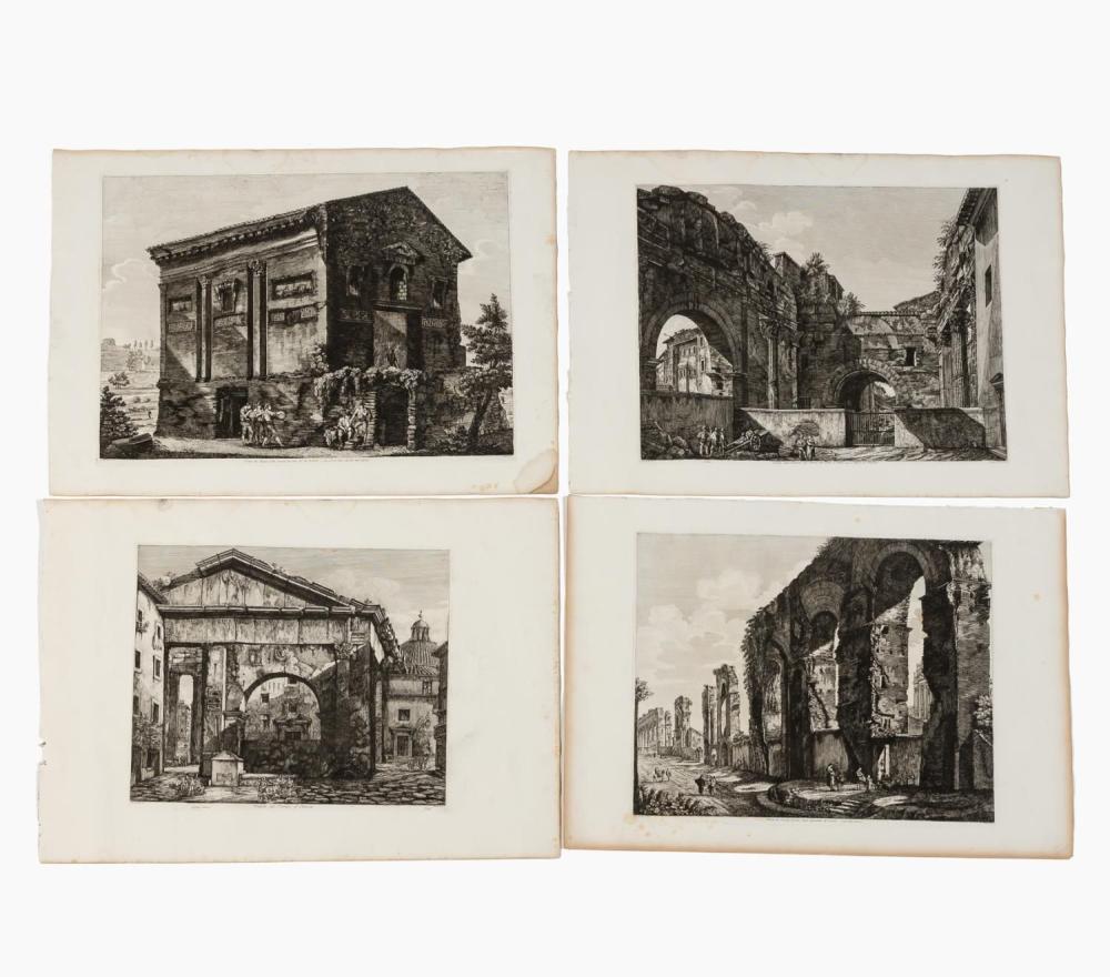 4 PCS, ROSSINI ARCHITECTURAL ENGRAVINGS, ROME