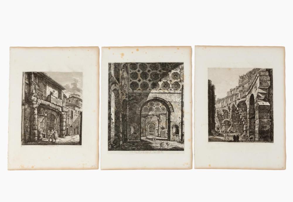 3 PCS, ROSSINI ARCHITECTURAL ENGRAVINGS, ROME