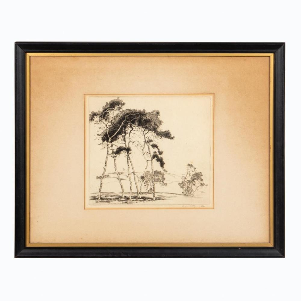 ALFRED HUTTY ETCHING, SUSSEX PINES, FRAMED, 1928