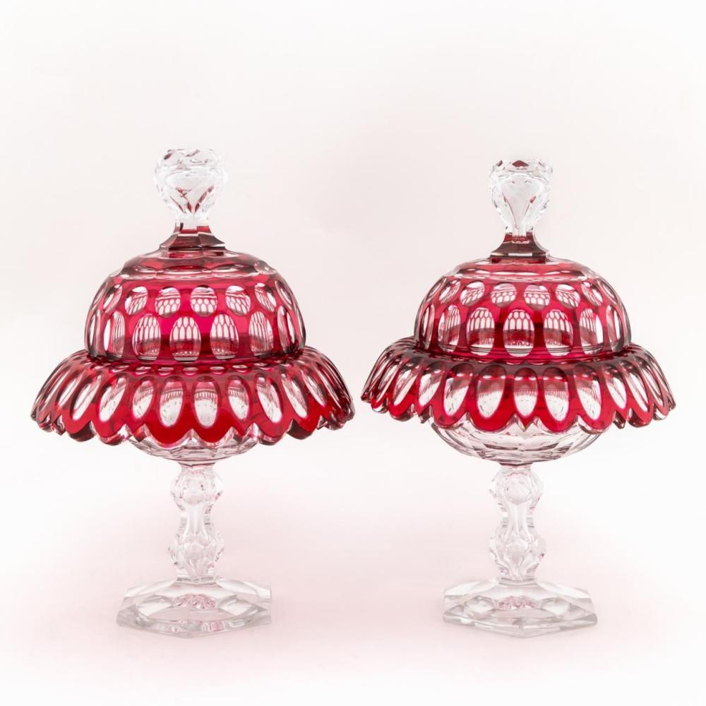 PR, BOHEMIAN CRANBERRY CUT GLASS LIDDED COMPOTES