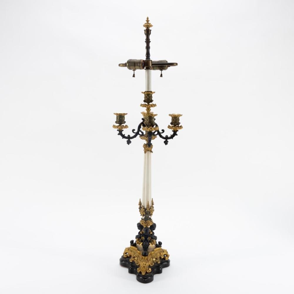 NAPOLEON III BRONZE CANDELABRUM MOUNTED AS A LAMP