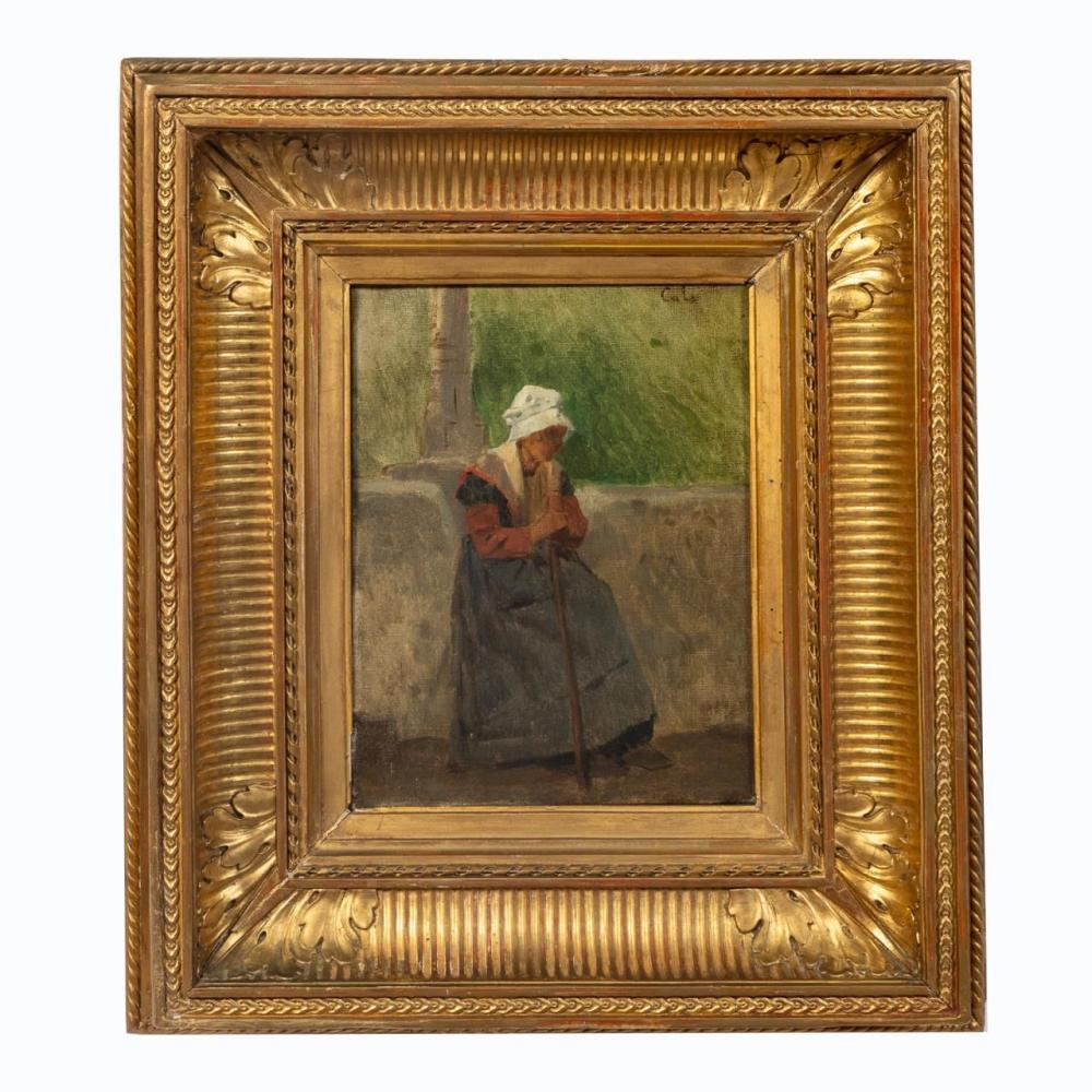 ADOLPHE-FELIX CALS, LADY WITH CANE, OIL ON CANVAS