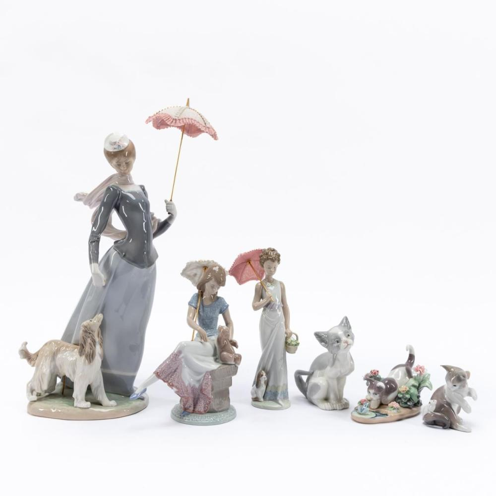 LLADRO, GROUP OF SIX, FIGURES WITH CATS & DOGS