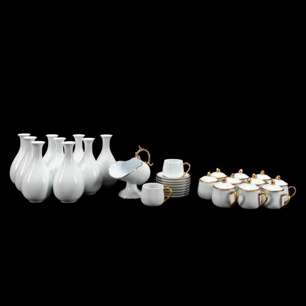 30PCS, MOSTLY FITZ & FLOYD WHITE & GOLD TABLEWARE