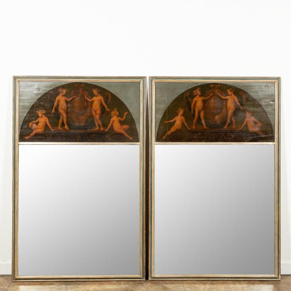PAIR, CONTINENTAL TRUMEAU MIRRORS WITH PUTTI