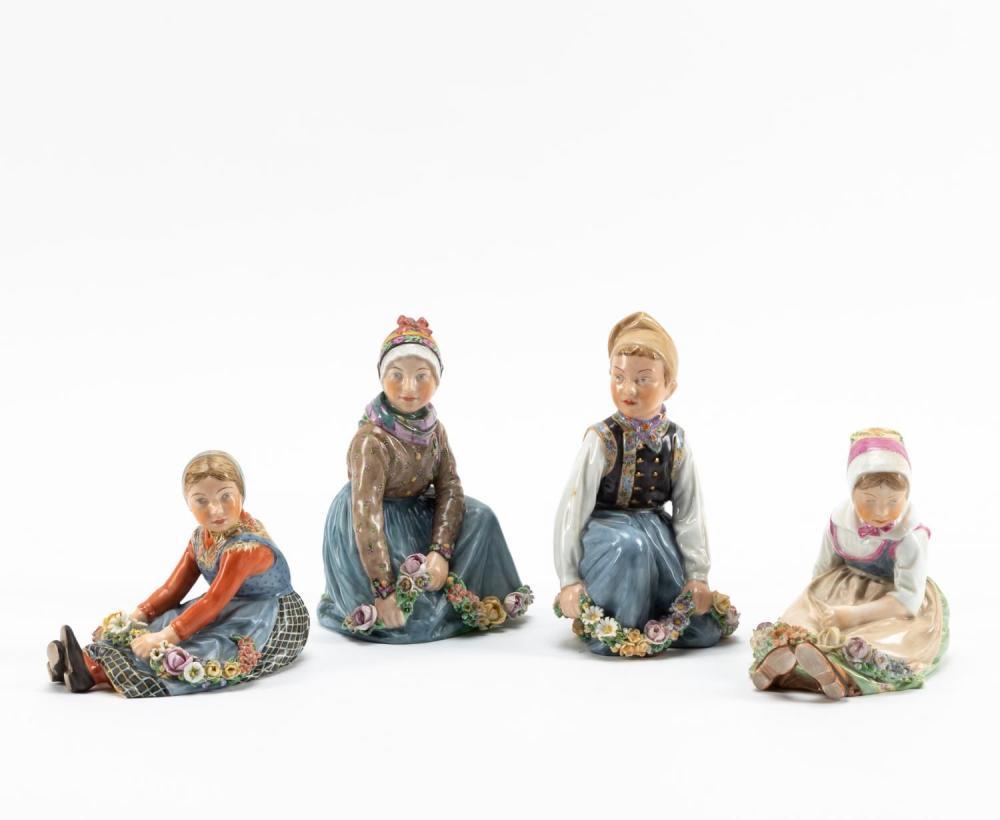 GROUP OF FOUR ROYAL COPENHAGEN CHILDREN FIGURINES