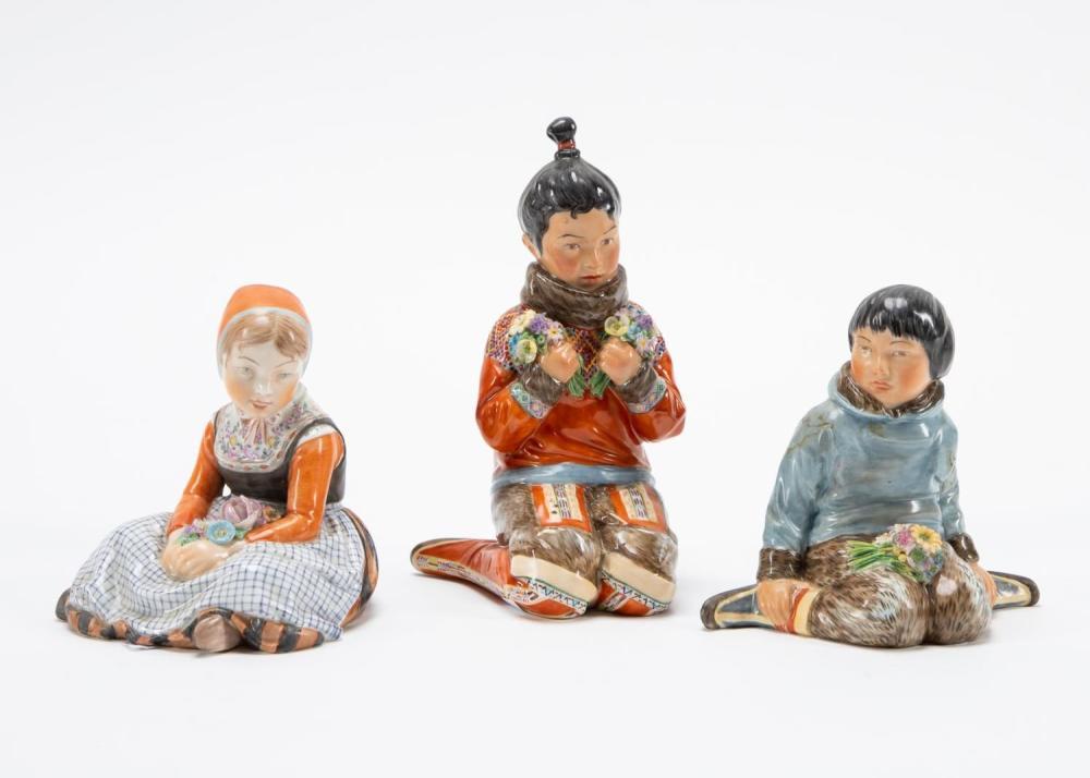 GROUP OF THREE ROYAL COPENHAGEN CHILDREN FIGURINES