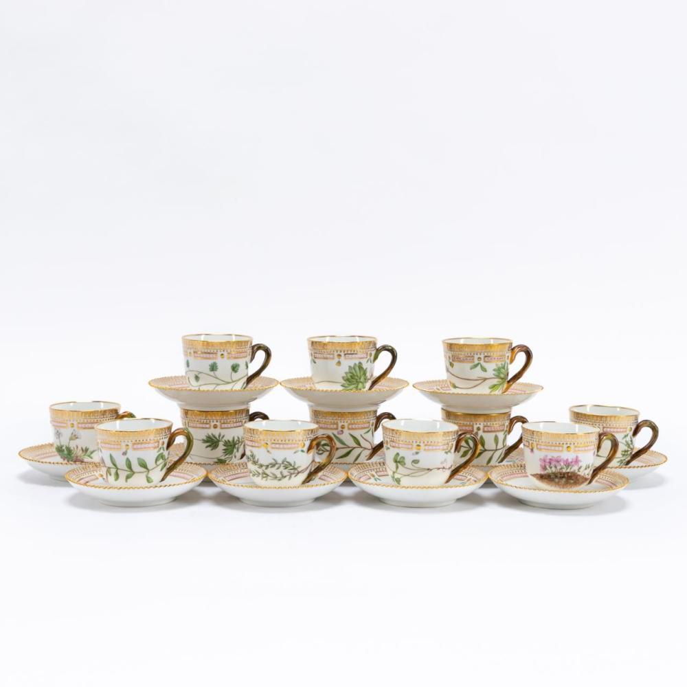SET OF 12 FLORA DANICA DEMITASSE CUPS & SAUCERS