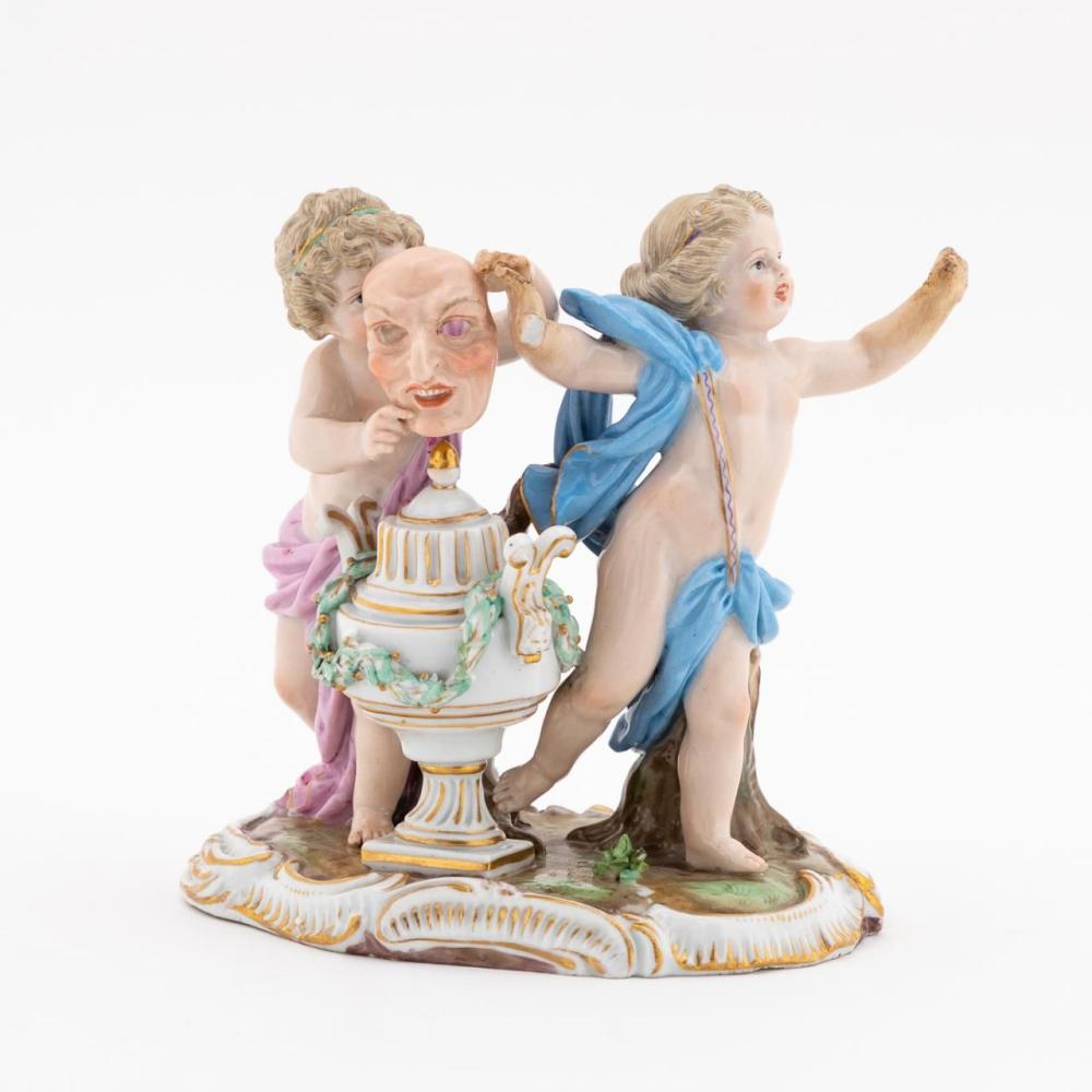 MEISSEN PUTTI WITH MASK FIGURAL GROUP